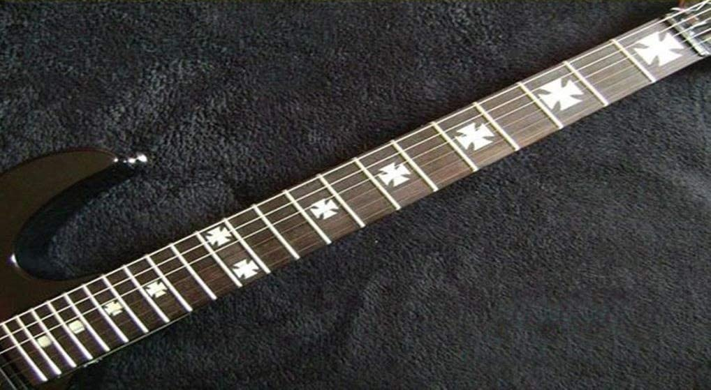 Iron Cross Baron Rojo Fret Markers Stickers Inlay Guitarra & Bass Pegatinas Diapason Guitarra (plata)