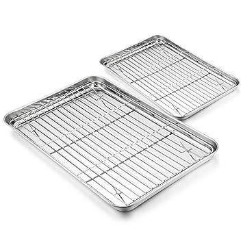 HaWare - Bandeja de horno con soporte, 4 unidades (2 bandejas + 2 estantes