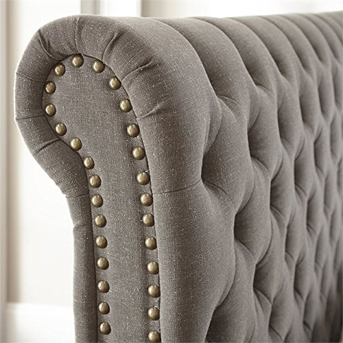 Steve Silver Swanson Tufted King Sleigh Bed in Gray