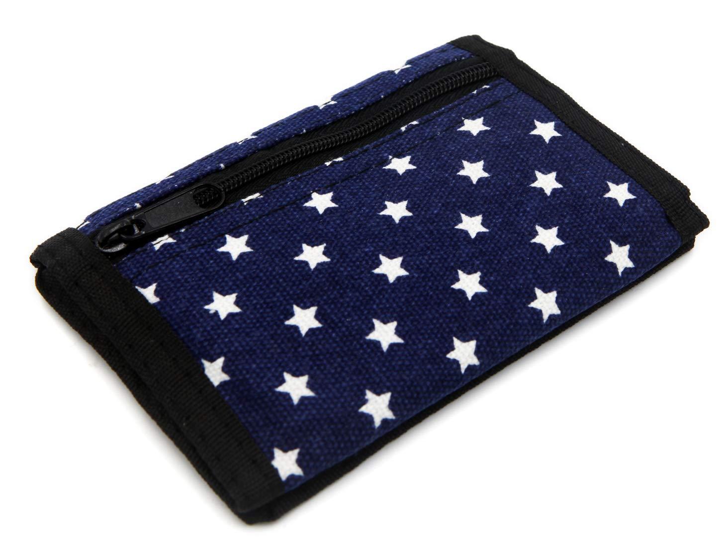 RFID Portefeuille Fin en Toile pour Enfants imprim/é /à Trois Volets avec Fermeture /Éclair Black Star Petit
