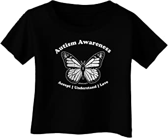 Puzzle Piece Butterfly 2 Infant T-Shirt Dark TooLoud Autism Awareness