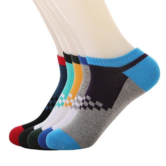 Vanki 5 Pares Calcetines Stripes Estampados Hombre, Medias de Calcetines Barco Sneaker Calcetines Cortos para