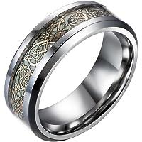 ドラゴンデザイン指輪 暗闇で光るリング 龍紋 竜 神秘夜光メンズ ステンレス チタン指輪 平打ち アクセサリー