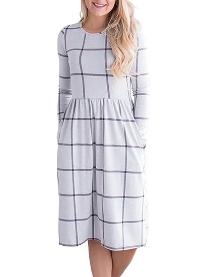 40f040b9a009 ZESICA Women s Plaid Print Pleated Long Sleeve Pockets Casual Swing T Shirt  Dress White