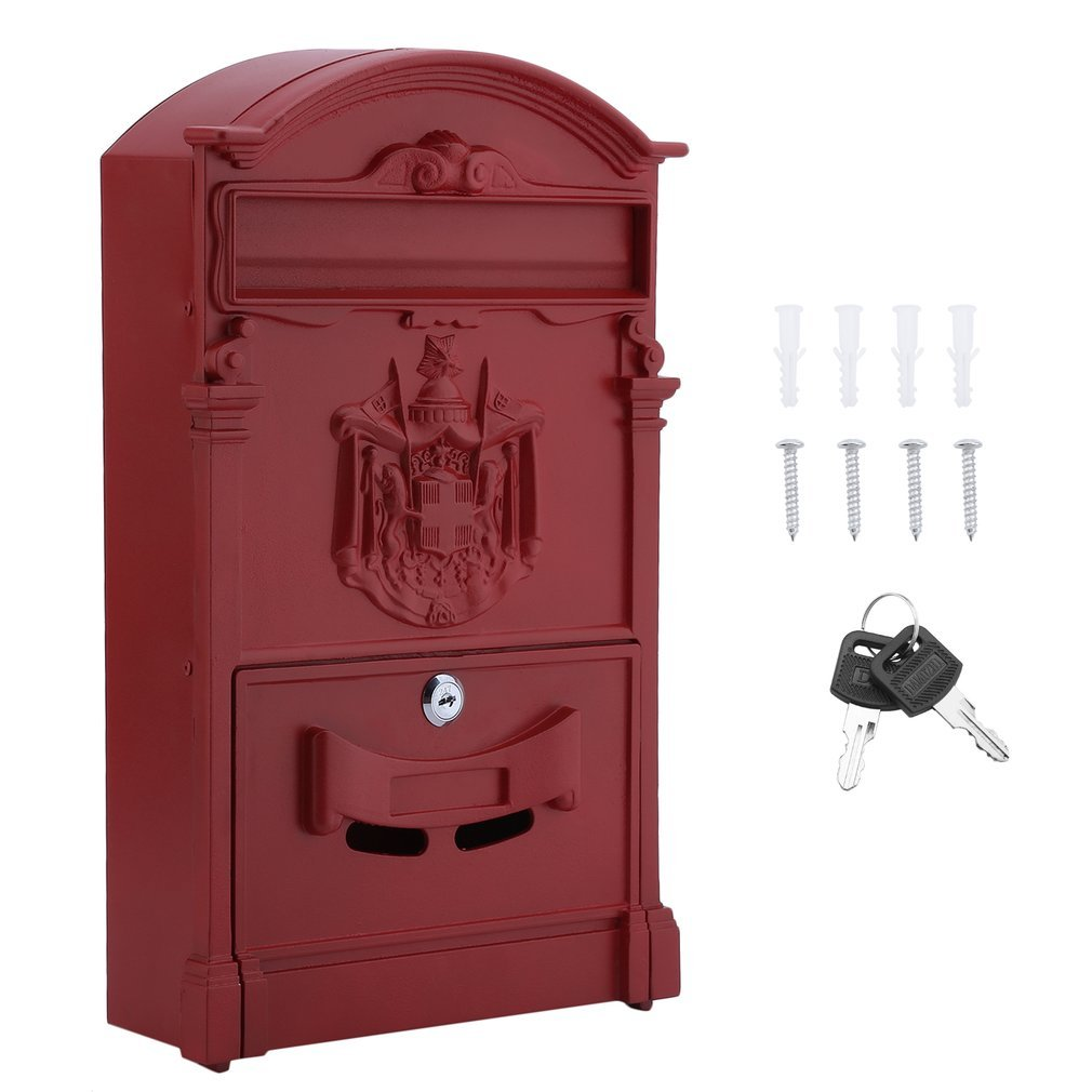 Belovedkai Outdoor Mailbox, Wall Mounted Vintage Mail Box Locking Post Box Secure Letterbox for Home Garden (red)