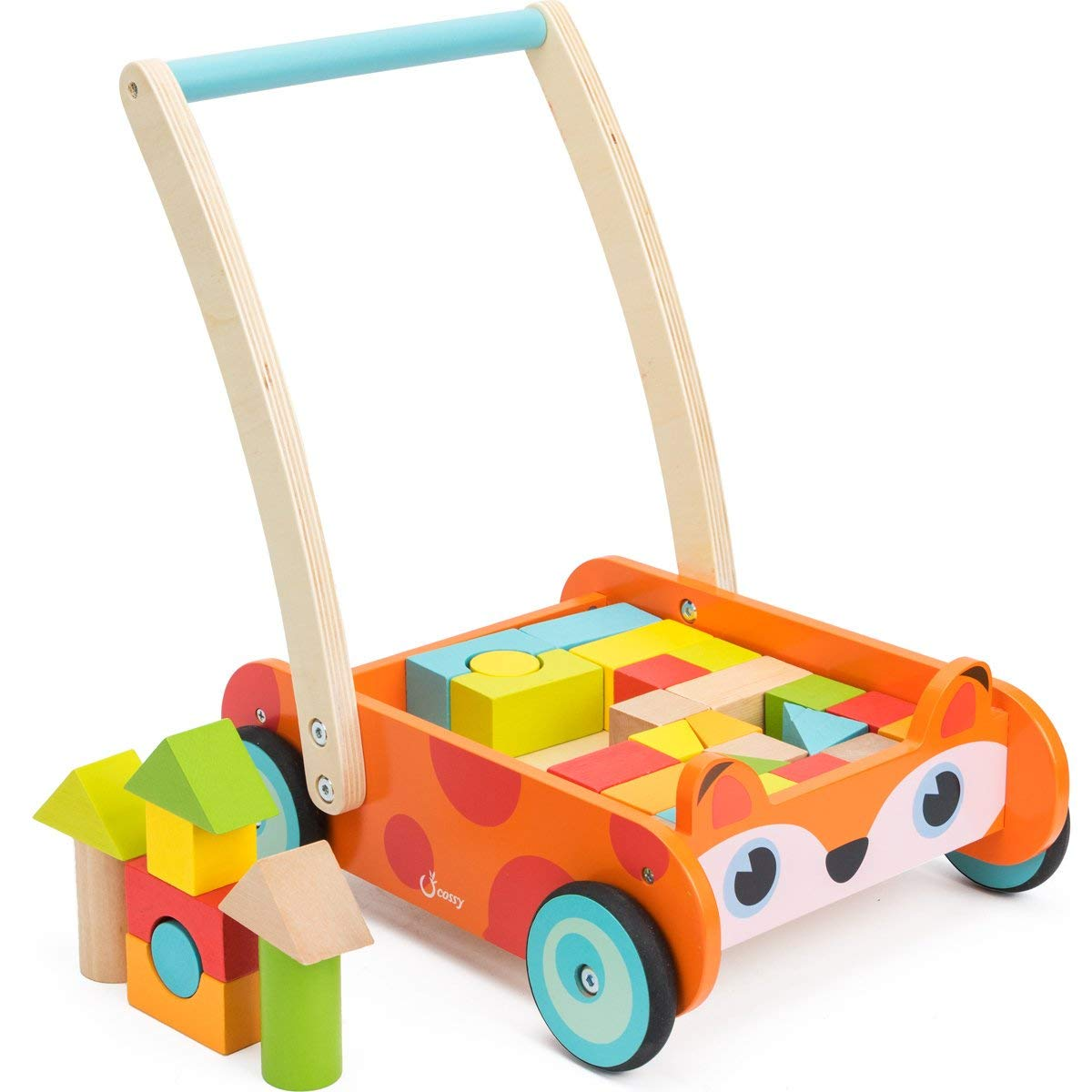 cossy Wooden Baby Learning Walker Toddler Toys for 1 Year Old and up 35 pcs Fox Blocks and Roll Cart Push Toy Updated Version