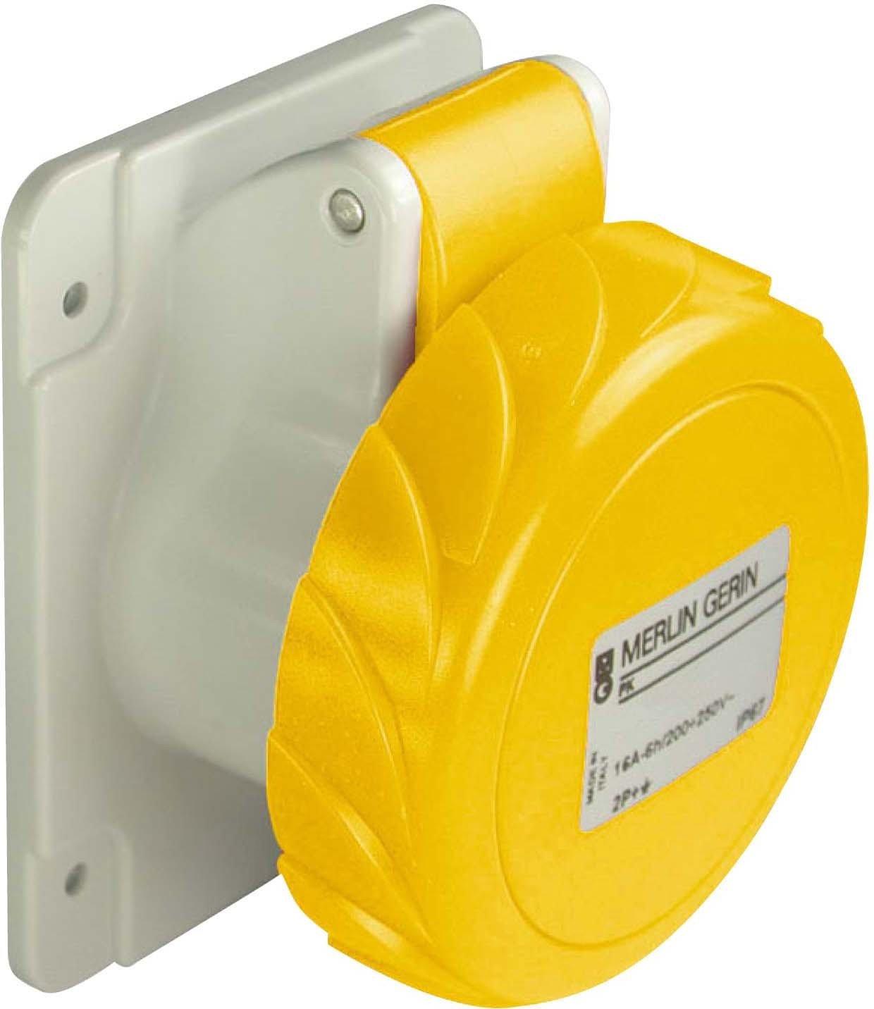 Schneider Electric 81676 Socle Prise ENC. Droit 63A 3PT 100-130V, White