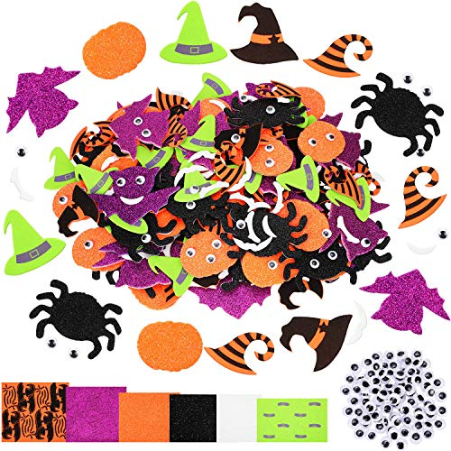 244 Pieces Halloween Foam Craft Stickers Self Adhesive Foam Stickers Assorted Styles Foam Craft Stickers Halloween Party Decoration for Kids (Pumpkins, Bats, Spiders, Wizard Hats, Glasses, Mouth)