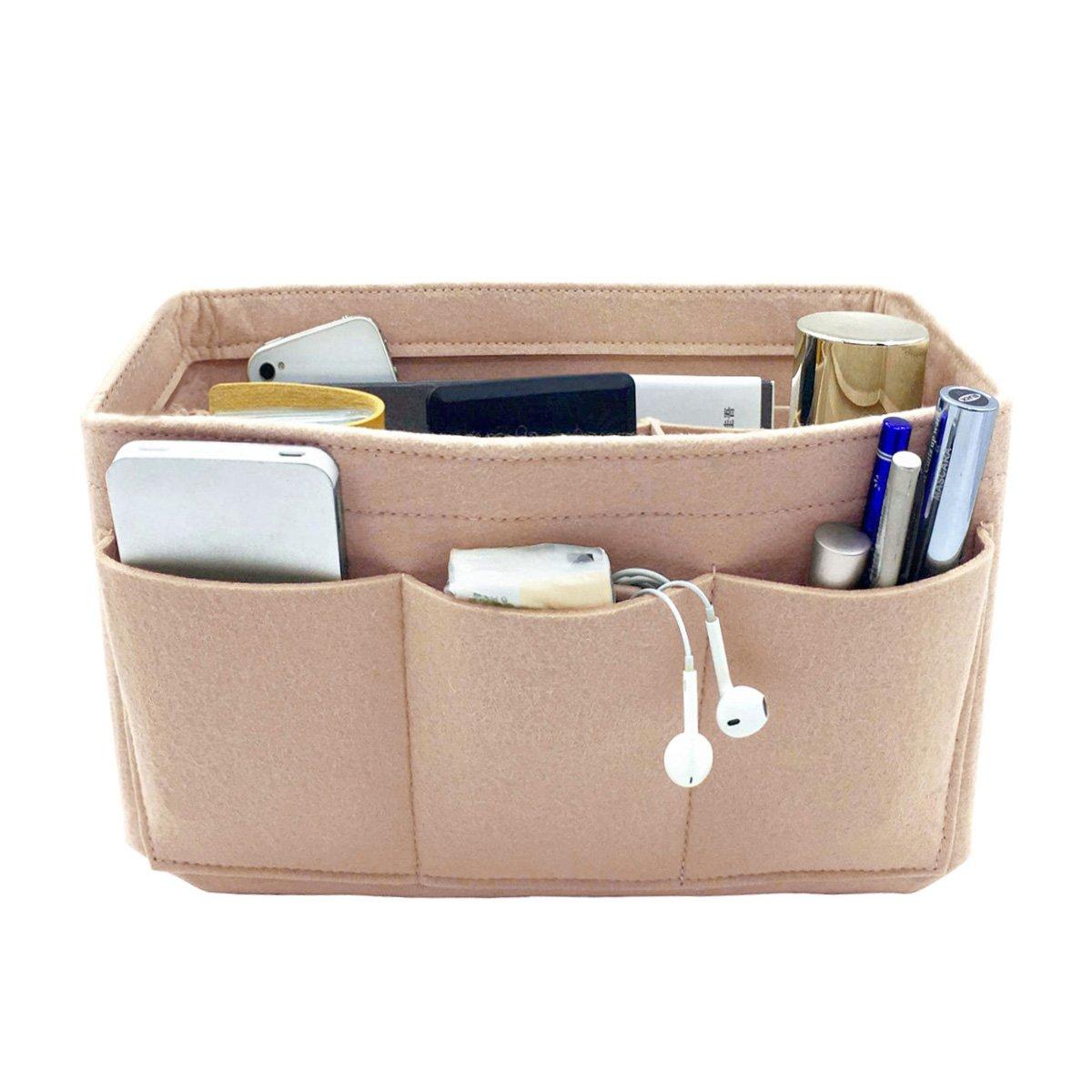 VANCORE 12 Pockets Felt Purses and Handbag Organizer Insert Cosmetic Bag Perfect Gift for Women Nude S