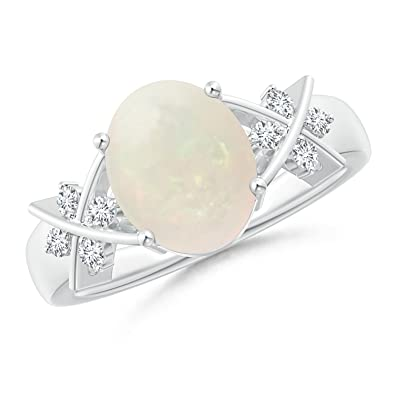 Angara Oval Opal and Diamond Ring in White Gold - October Birthstone Ring T9zIKpt