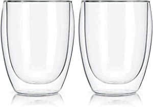 Home Essentials and Beyond 2 Double Walled Coffee Glasses 11.83 Ounce Capacity Clear