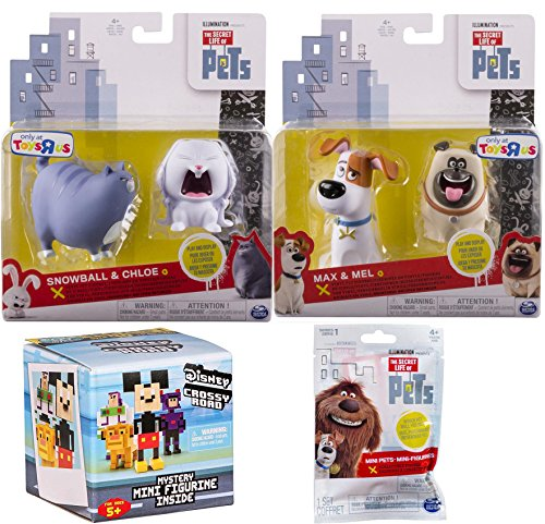 The Secret Life of Pets Figure Set Max & Mel the Dog + Exclusive Snowball & Chloe 2-Pack Characters / 1 Blind Bag & Disney Crossy Roads Mystery Box Mini (Pet Machine Series)
