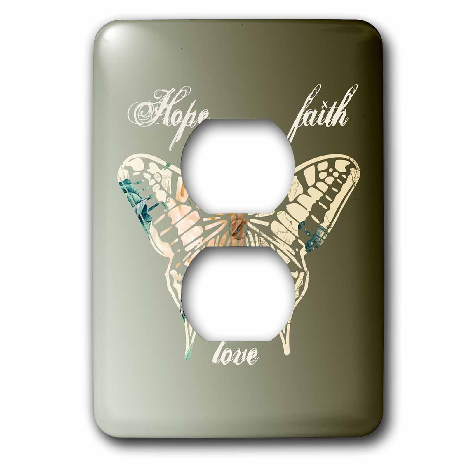 3dRose lsp_155872_6 Hope, Faith and Love Gold Butterfly Inspirational Art 2 Plug Outlet Cover