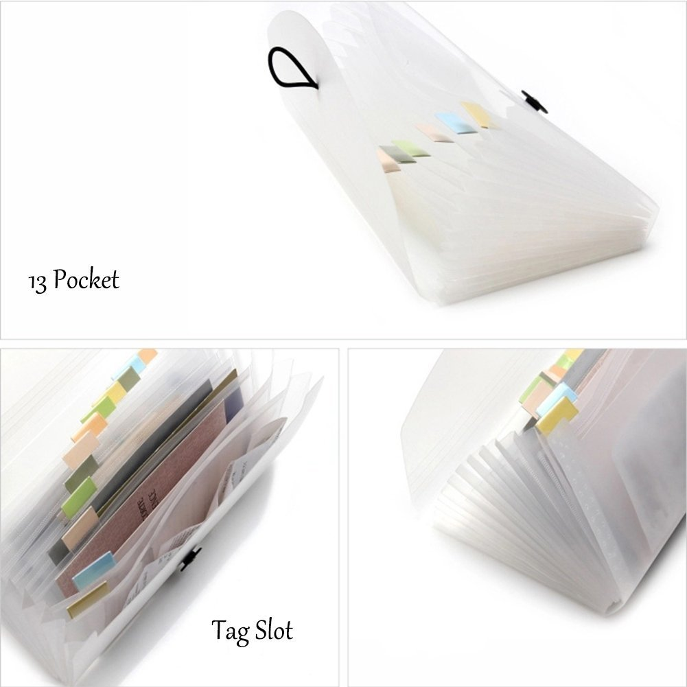 13 Pocket Expanding Check Bill File Folder/Small Accordion Document File Organizer Binder Project File Jacket Portable Handy Accordion File Folder Receipts Letters Holder Storage Bag,Junior Size