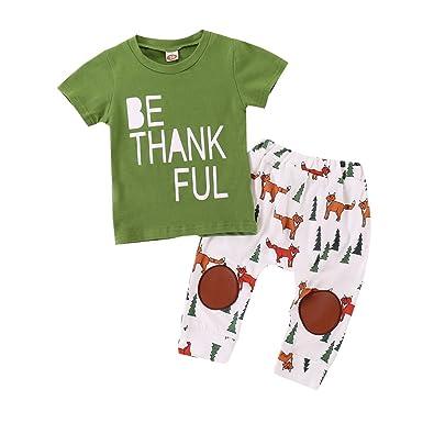 7f391534efeb MLCHNCO 2PCS Baby Boy Girls Clothes Infant Leather Kneecap Fox Pants+Newborn  Letter Short Sleeve