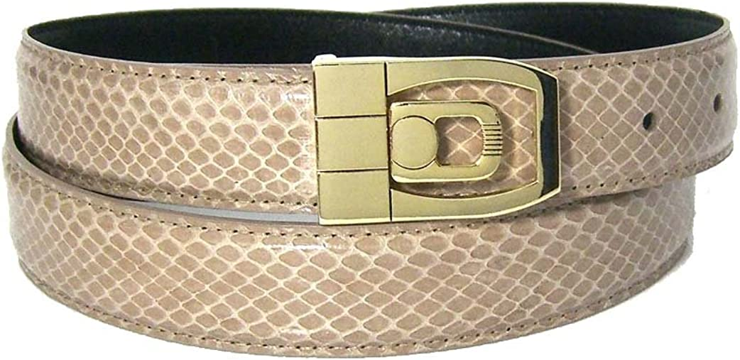 Mens Taupe Brown 1.25 Wide Bonded Snakeskin Belt with Stylish Buckle