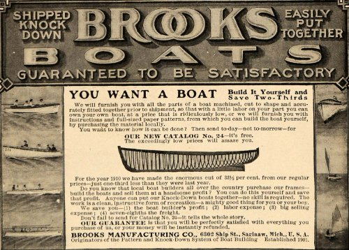 1910 Ad Brooks Build It Yourself Boats Saginaw Michigan Marine Assemble Sail - Original Print Ad (Saginaw Marina)