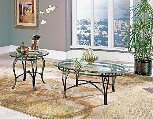 Steve Silver Madrid Beveled Glass Top Occasional Table 2 Pc