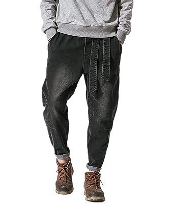 524b8987bad975 Amazon   WEEN CHARM ワイドデニムパンツ メンズ ジーンズ サルエルパンツ ゆったり 大きサイズ メンズ ワイドパンツ オシャレ  ウエストゴム シルエット メンズ ...