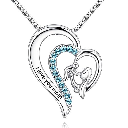 Amazon mothers hold child heart love pendant necklace dk blue mothers hold child heart love pendant necklace dk blue crystal jewelryi love you aloadofball Choice Image