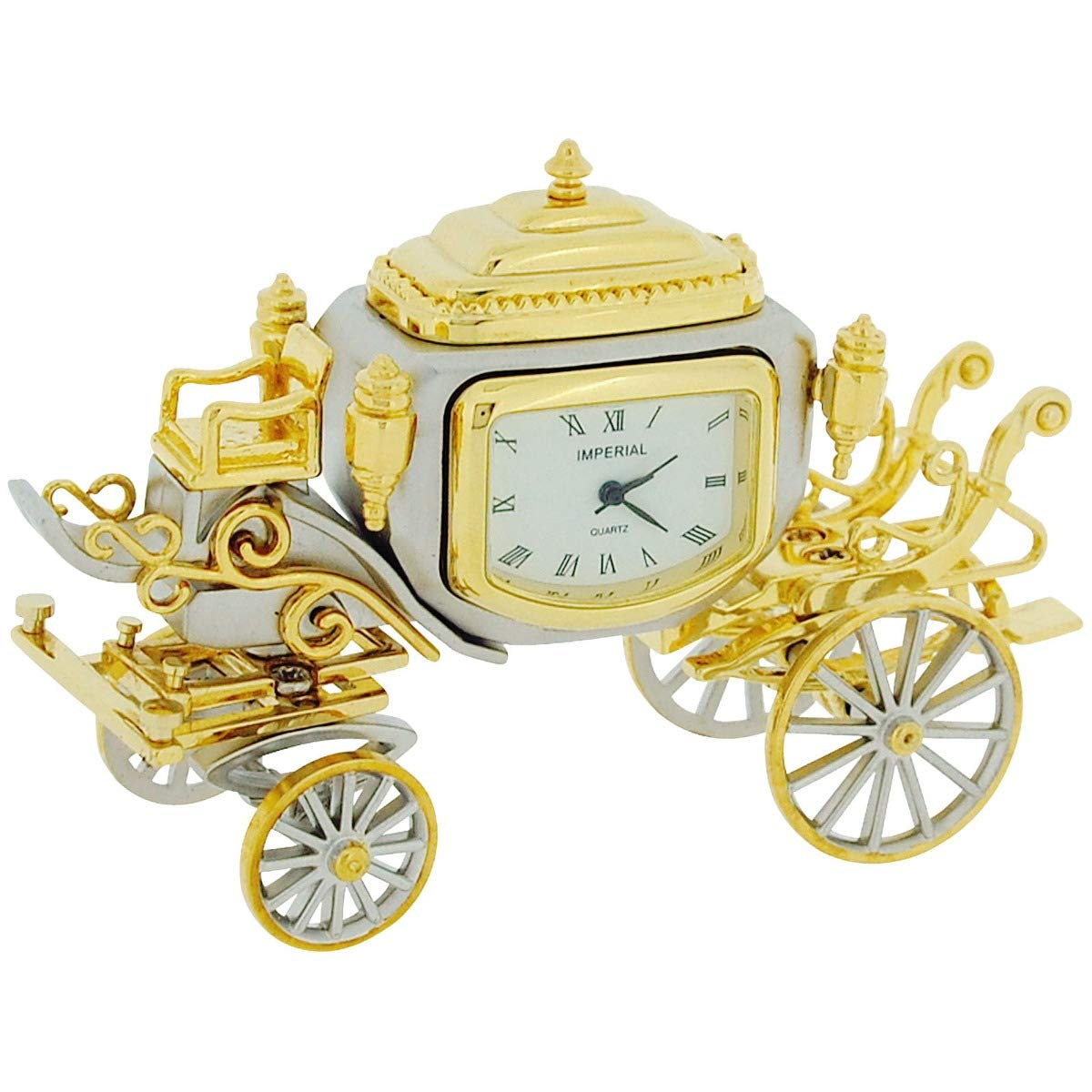 GTP Miniature Two Tone Plated Royal State Coach Novelty Collectors Clock IMP1050