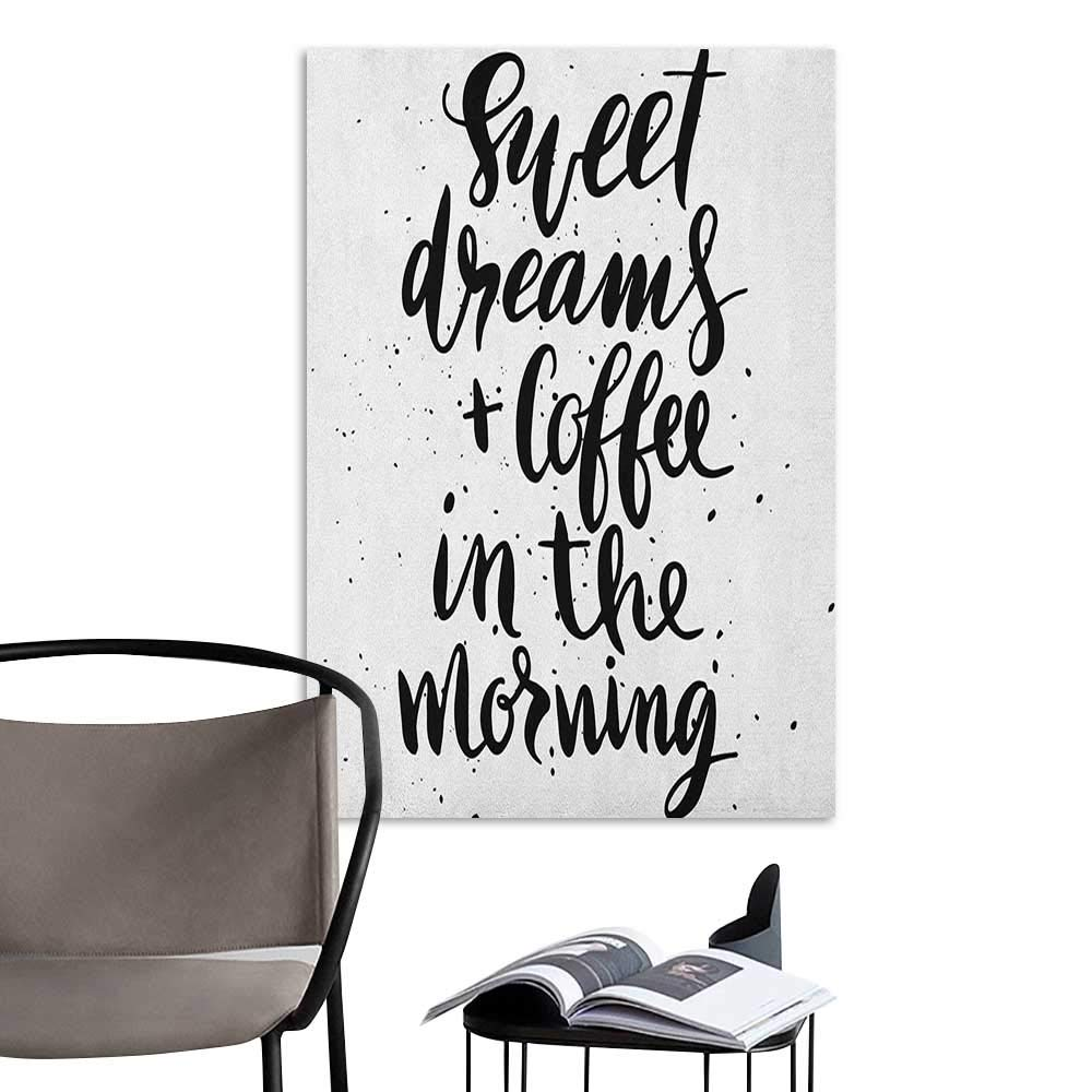 Jaydevn 3D Murals Stickers Wall Decals Sweet Dreams Sweet Dreams and Coffee in The Morning Hand Drawn Text Paint Splashes Black and White School Dormitory Classroom W24 x H36