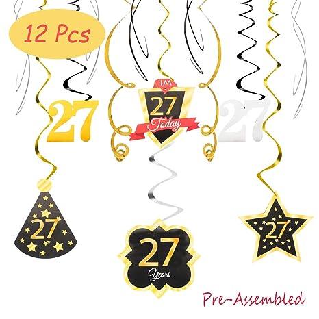 Amazon.com: 27 cumpleaños decoración feliz 27th cumpleaños ...