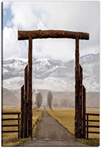 Hitecera Western,Gifts for Travelers,Big Log Gate Lane Montana Cattle Ranch in Winter Countryside Hills Cloudy Sky Drative,Large Wall Art,8''x12''