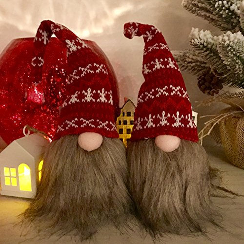 The Santa Gnomes, Set of 2, Rustic Swedish Style, Handcrafted, Weighted Bead Bottom, Christmas Decoration, Bendable Hat, Knitted Polyester, Faux Fur, 11 3/4 and 9 Inches, By Whole House - Traditional Norwegian Christmas