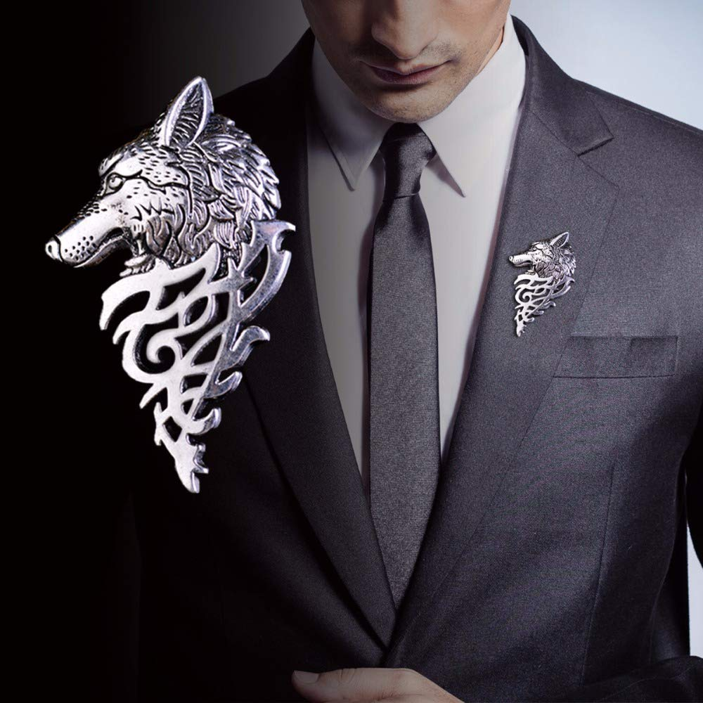 Star and Sea 1 Pair Vintage Wolf Head Suit Pin Brooch Punk Antique Collar Party Brooch for Men