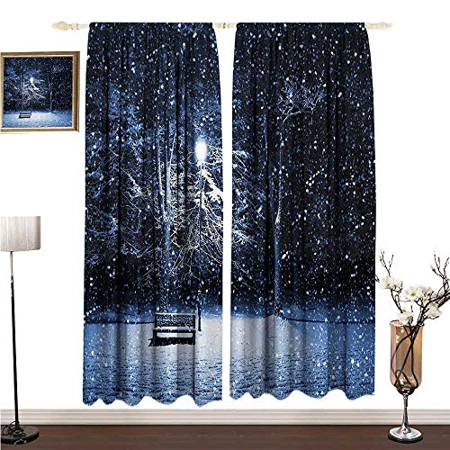 Anshesix Bedroom Windproof Curtain Winter View of a Bench and Lantern at The Park in Dark Snowy Night Windy Storm Print W96 xL96 Drapes for Living Room