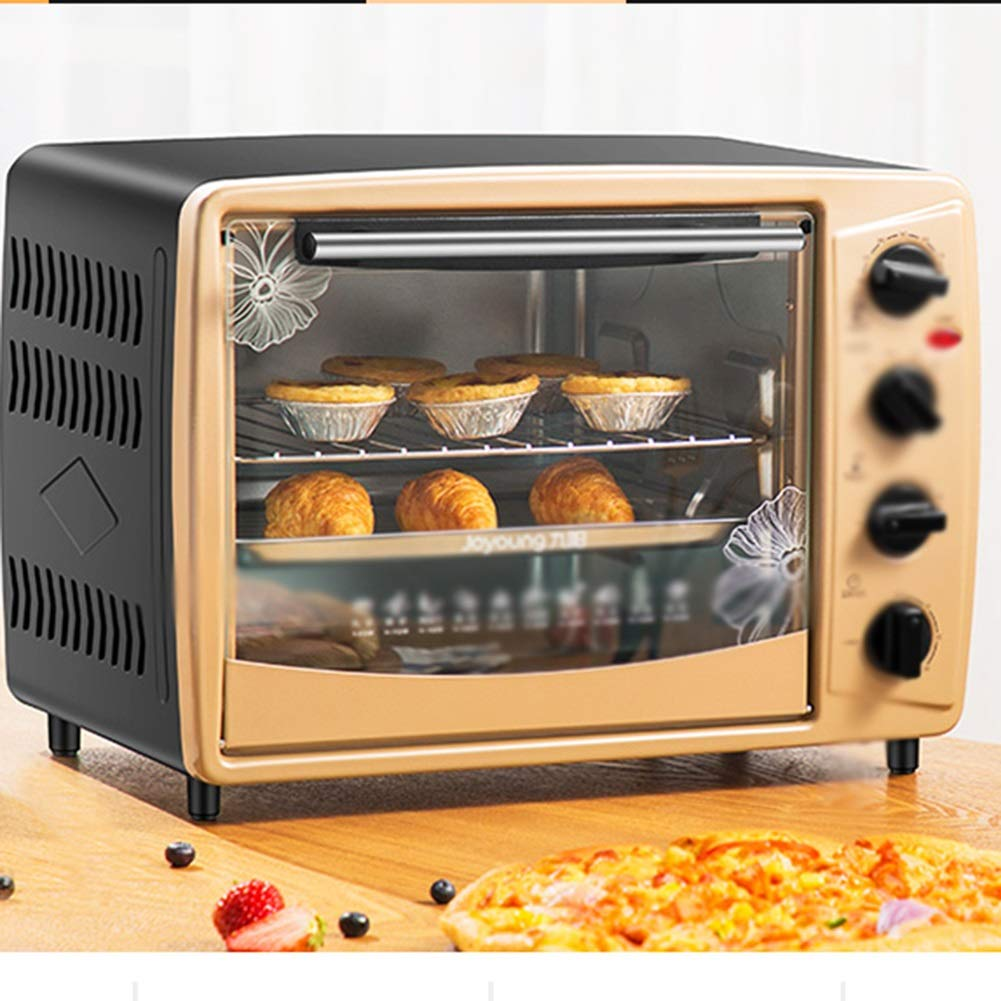 HATHOR-23 Ovens-Mini Oven With Grill 1500W Electric Oven With Double Hotplate,able TopCooker With Multiple Preset Functions,gold