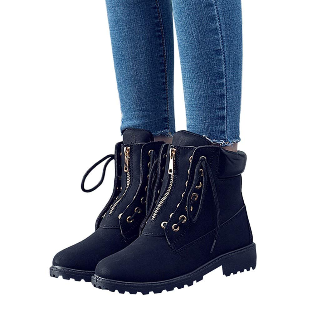 78b70d7fdcf12 Ankle Booties For Women Low Heel Liraly Solid Lace Up Zipper Casual ...