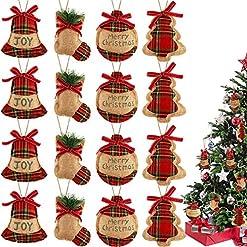 Christmas Farmhouse Home Decor 16 Pieces Christmas Tree Stocking Ornaments Xmas Hanging Decoration Stockings Burlap Christmas Ornaments for Xmas…