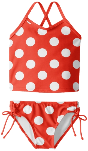 Kanu Surf Little Girls' Toddler Beachball Tankini Swimsuit, Red, 3T