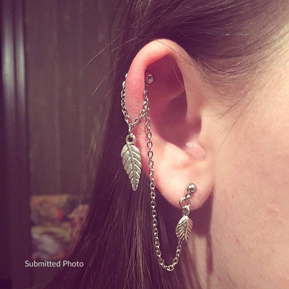 Amazon Com Helix To Lobe Chain Earring Leaf Dangle Chain Earring