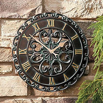 14u0026quot; Medallion Outdoor Clock Wall Hanging Outside Patio Porch Wall Decor