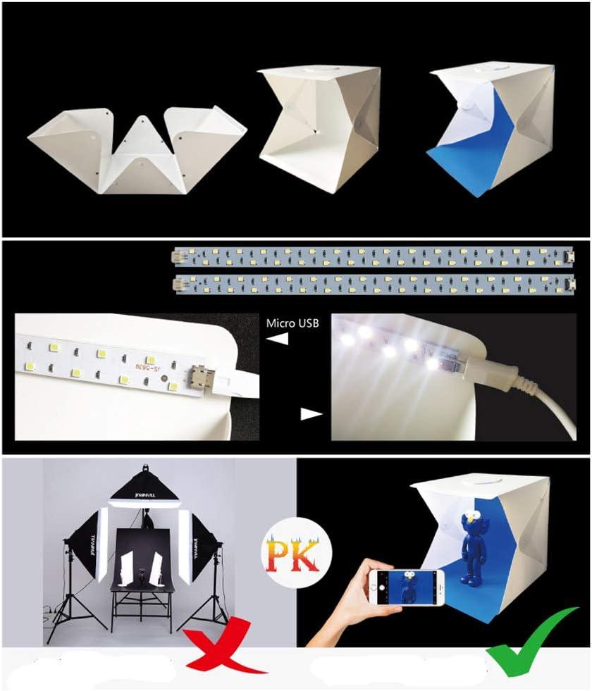 SHENXIAOMING Portable Photo Studio Mini Booth Shooting Tent kit Folding Photography Light Box with Brightness 2x20 Cube LED Strip 404040cm 4 Colors Backdrop