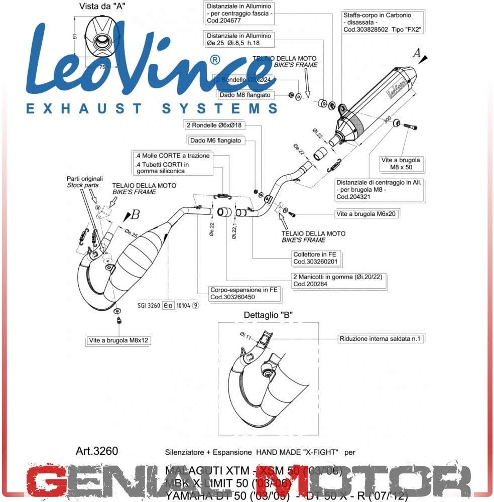 3260B Pot DEchappement Complete Leovince X-Fight Noir Dt 50//X//R 2003  2011