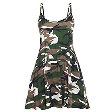 d3e2255c16d90 Girls Walk Women's Strappy Army Camouflage Print Cami Swing Dress at Amazon  Women's Clothing store: