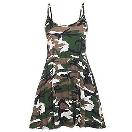 Review Girls Walk Women's Strappy Army Camouflage Print Cami Swing Dress