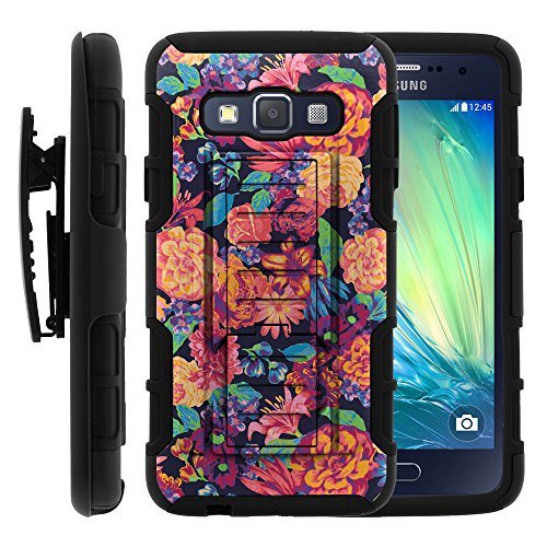 Galaxy A3 Case, Galaxy A3 Holster, High Impact Advanced Double Layered Hard Cover with Built in Kickstand and Belt Clip for Samsung Galaxy A3 SM-A300FU from MINITURTLE   Includes Screen Protector - Floral Dream