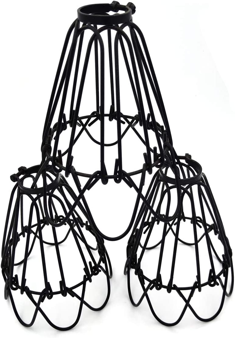 3 Pack Lamp Guard, Adjustable Lamp Cage, Hanging Pendant Metal Wire Cage Black Industrial Vintage Style Light Cage for Pendant Lights, Antique Lamp Holders