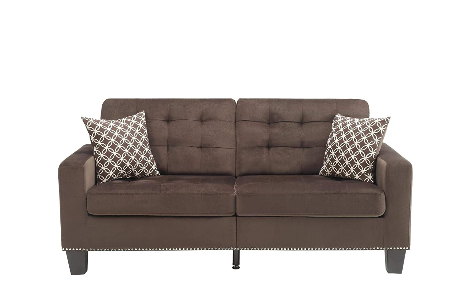 Amazon.com: Benzara BM180174 Fabric Upholstered Sofa, Brown ...