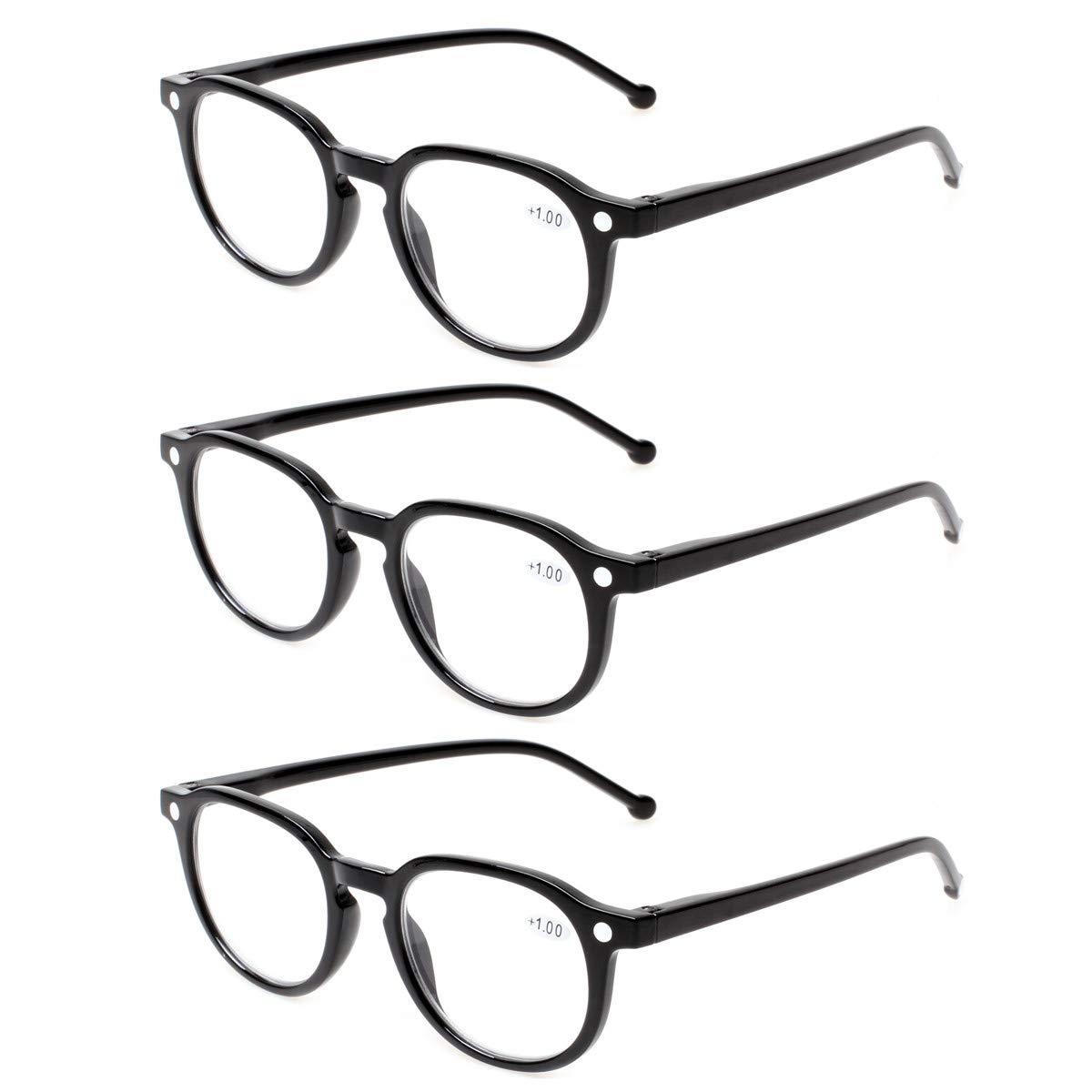 Amazon.com: 3 pares de gafas de lectura, retro, redondas ...