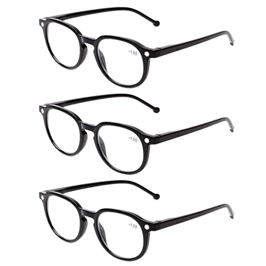 35724d3a212a READING GLASSES 3 Pair Retro Round Spring Hinged Readers Great Value  Quality Glasses for Reading (