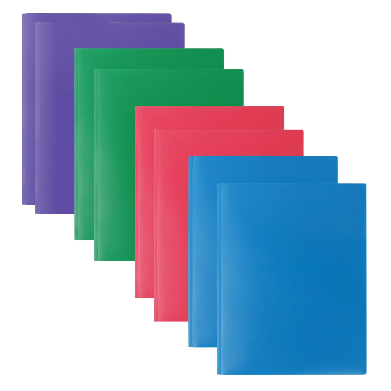 Plastic Folders with 2 Pockets and 3 prongs,8 Pack Multicolor Plastic Two Pocket Folders with Prongs and Card Holder, 2 Pocket Plastic folders for School, Home, and Work, 8 Pack Plastic Folders by INFUN