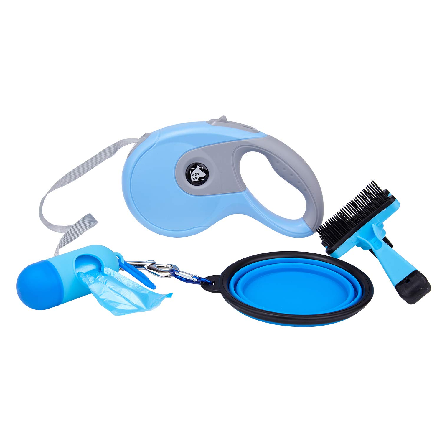 AdyK9 Retractable Dog Leash Ultimate Dog Care Kit (16') Adjustable Cord for Walking, Jogging, Travel | Heavy-Duty, Durable| Incl. Waste Bag Dispenser w/Free Bags, Collapsible Bowl and Brush (Blue)