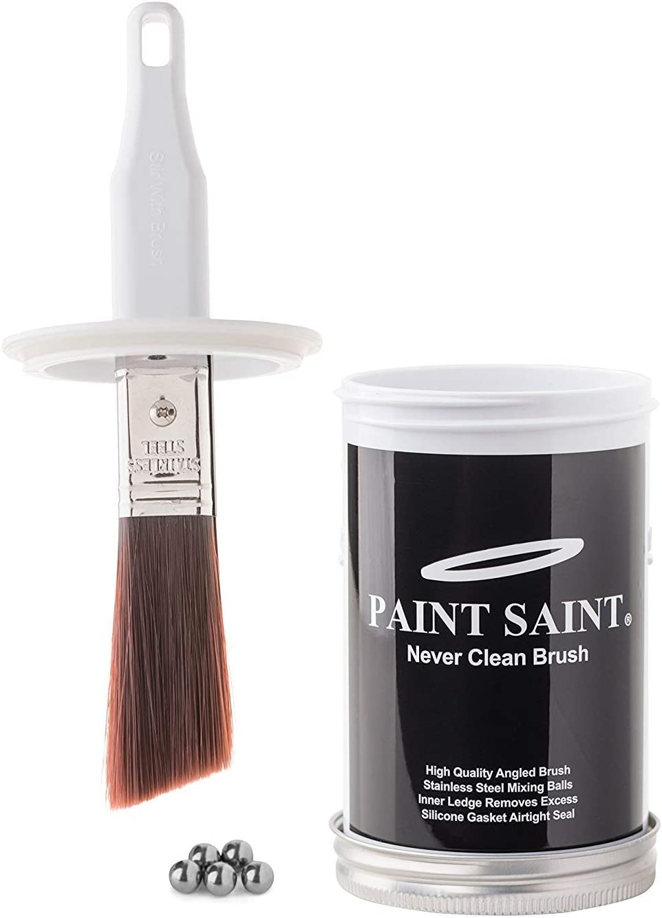 My Paint Saint (1pack) - New Improved Version Small Angled Sash Brush - The Ultimate Paint Touch Up Kit - Perfect for Homeowners, Businesses, Offices, Hotels, Retail, Churches, and Schools