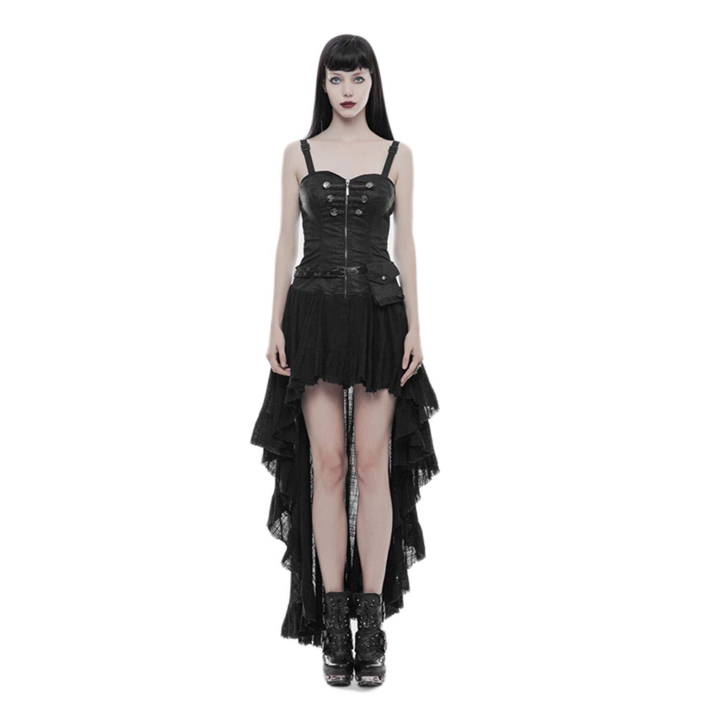 Steampunk Retro Strapless Tube Top Chest-type Asymmetric Hem Lace Dress